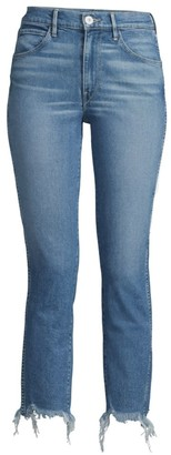 3x1 Authentic Mid-Rise Staight-Leg Cropped Raw-Hem Jeans