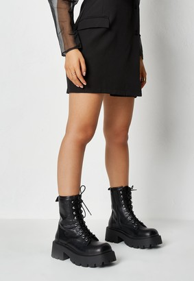 Missguided Black Faux Leather Lace Up Chunky Boots