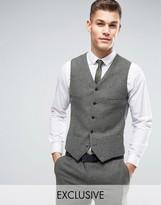 Noak Slim Waistcoat In Fleck Wool