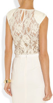 Nina Ricci Embroidered wool-blend lace top