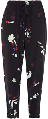 Preen Line Tessa Cropped Printed Crepe De Chine Tapered Pants