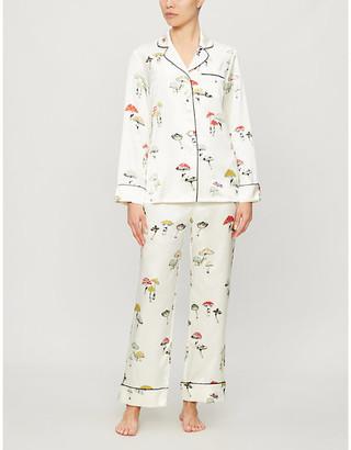 Olivia von Halle Lila graphic-print silk pyjamas