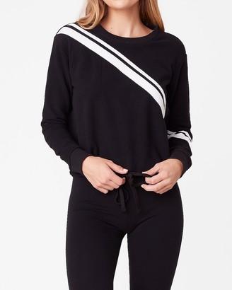 Express Cut The Line Striped Drawstring Hem Sweatshirt