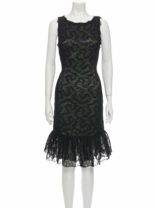 Oscar de la Renta Lace Pattern Midi Length Dress Black