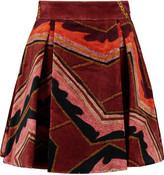 Just Cavalli Pleated velvet mini skirt