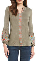 Democracy V-Neck Floral Embroidered Long Sleeve Top