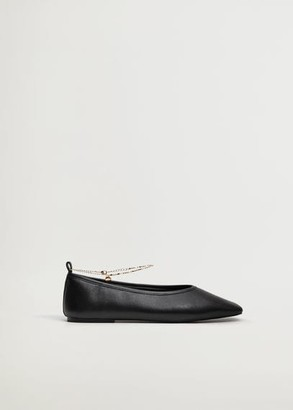 MANGO Leather ankle-cuff shoes