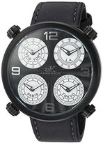 Adee Kaye Men's Quartz Stainless Steel and Leather Dress Watch, Color:Black (Model: AK2275-MIPBLK)