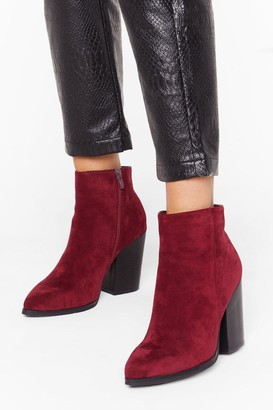 Nasty Gal Womens Don't Stand For It Faux Suede Ankle Boots - Burgundy