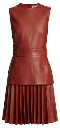 Oscar de la Renta Sleeveless Leather Pleated A-Line Dress