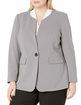 Nine West Women's Plus Size 1 Button Jewel Collar KISS Front Jacket