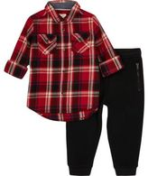 River Island Mini boys red check shirt and joggers