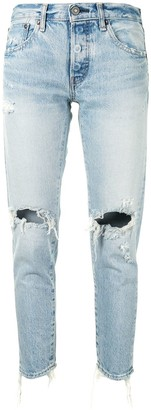 Moussy Distressed Tapered-Fit Jeans