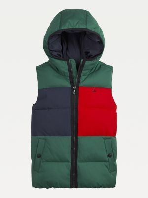 Tommy Hilfiger Colour-Blocked Padded Down Hooded Vest