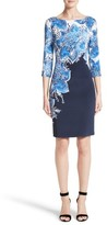 St. John Women's Lotus Blossom Print Stretch Silk Dress