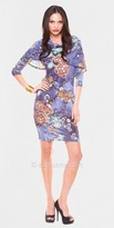 Julian Chang Iris Cowl Neck Quarter Sleeve Casual Dresses