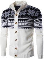 TUNEVUSE Men's Jacquard Button Cardigan Slim Casual Sweaters US L