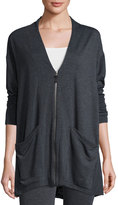 Max Studio Soft-Knit Terry Cardigan, Charcoal/Natural