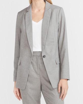 Express Flannel One Button Boyfriend Blazer