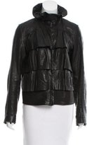 Diane von Furstenberg Leather Ruffle-Accented Jacket