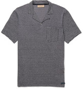 Burberry Striped Cotton and Linen-Blend Polo Shirt