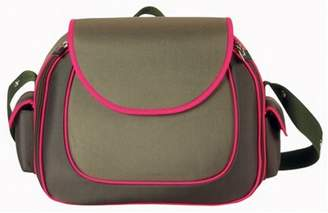 Little Company Hard Shell Shoulder Bag in Olive with Bright Pink