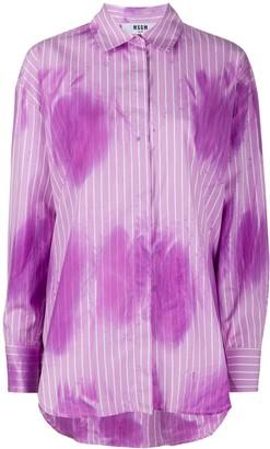 MSGM Striped Tie-Dye Print Shirt