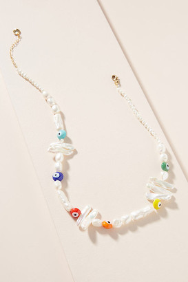 SANDY HYUN Sonia Spirit Eye Pearl Necklace By in White Size ALL