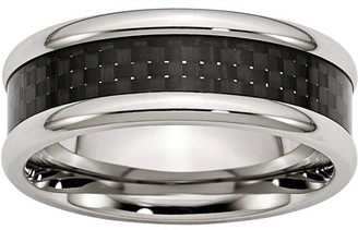 Primal Steel Stainless Steel Polished w/ Black Carbon Fiber Inlay 8mm Band