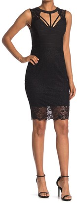 GUESS Lace Strap Mini Dress