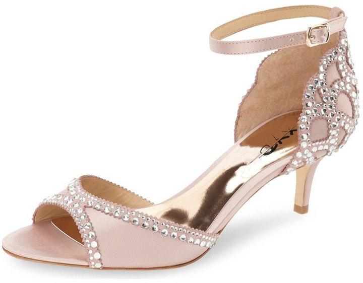 XYD Ballroom Dance Shoes Wedding Sandals Pumps with Rhonestones Ankle Strap Peep Toe Heels for Women Size 4