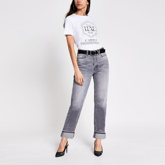 River Island Womens White slogan printed diamante T-shirt