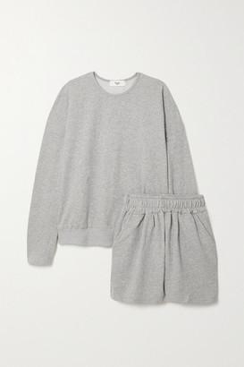 Frankie Shop Jaimie Oversized Cotton-jersey Sweatshirt And Shorts Set - Gray