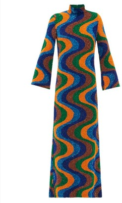 Ashish Sequinned-stripe Georgette Maxi Dress - Multi
