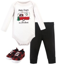 Hudson Baby Baby Girls and Boys Christmas Camper Bodysuit, Pant and Shoe Set, Pack of 3
