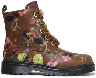 Mother of Pearl Enzo Floral-print Leather Ankle Boots
