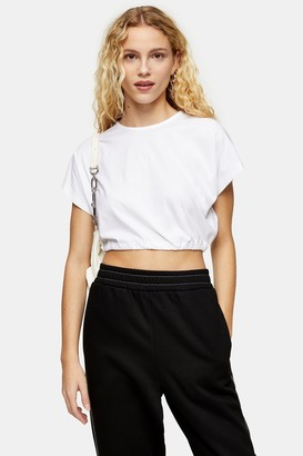 Topshop White Short Sleeve Bubble Hem Crop Top
