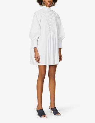 Camilla And Marc Tori pin-tucked puffed-sleeve cotton-poplin mini dress