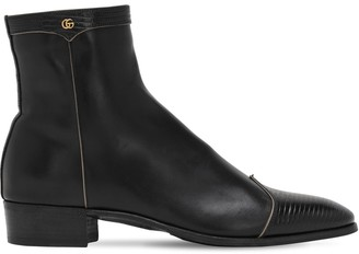 Gucci Gg Detail & Embossed Leather Boots