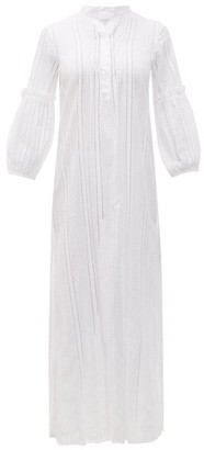 Binetti Love Lace-insert Cotton Dress - Womens - Ivory