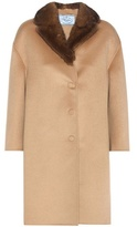 Prada Fur-trimmed Wool And Angora-blend Coat