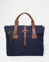 Asos Satchel In Navy Canvas With Contrast Trims