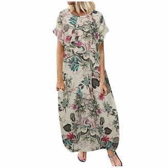 Younthone Women's Casual Loose Dress Summer Vintage Print Short-Sleeved Cotton Maxi Dresses Vacation Beach Skirt Ethnic Style Party Long Dress Size UK 12-24 Pink