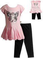 Dollie & Me Girls 4-14 Photoreal Butterfly Cat Drop-Waist Mini Dress & Capri Leggings Set
