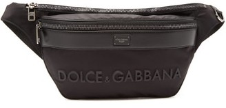 Dolce & Gabbana 3d-logo Leather & Technical-gabardine Belt Bag - Black