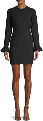 MSGM Embellished-Neck Mini Sheath Dress