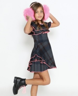 Lanoosh Little Girls A-Line Long Sleeve Dress with A Pleated Skirt and Exaggerated Collared Neck