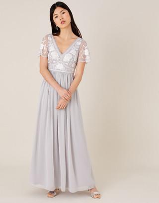 Monsoon Daphnee Embroidered Maxi Dress Grey