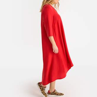 La Redoute Collections Plus Flared Maxi Dress with Long Sleeves