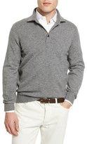 Brunello Cucinelli Solomeo Wool-Blend Polo Sweater, Dark Gray